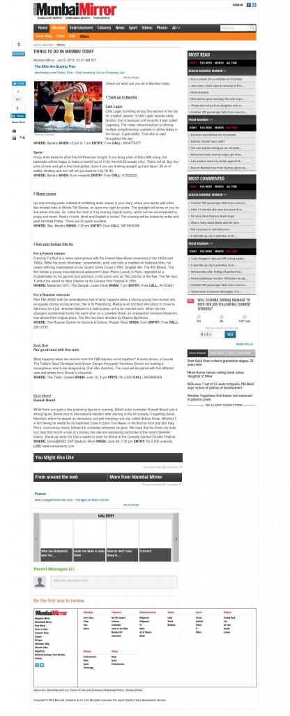 http://www.mumbaimirror.com/mumbai/others/Things-to-do-in-Mumbai-today/articleshow/47593280.cms